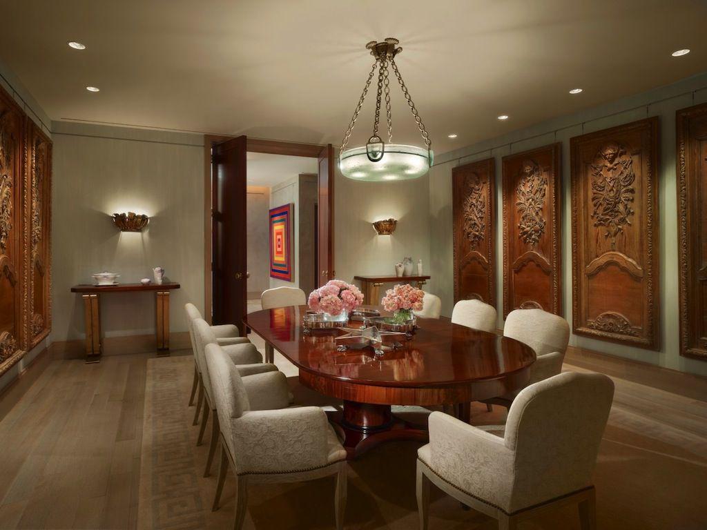 traditional dining room with pendant light u0026 hardwood floors