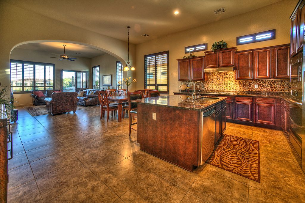 1 Tag Country Great Room With Sandstone Tile Floors, Kitchen Island, French  Doors, High Ceiling