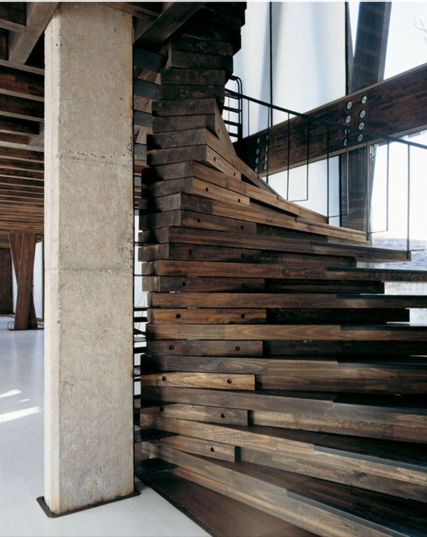 Rustic Staircase With High Ceiling, Columns, Spiral Staircase, Laminated  Timber, Hardwood Floors