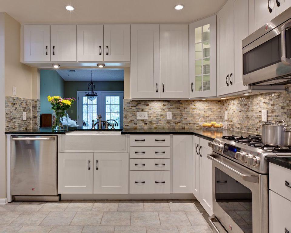 kitchen with flush light signature hardware doublebowl farmhouse sink l