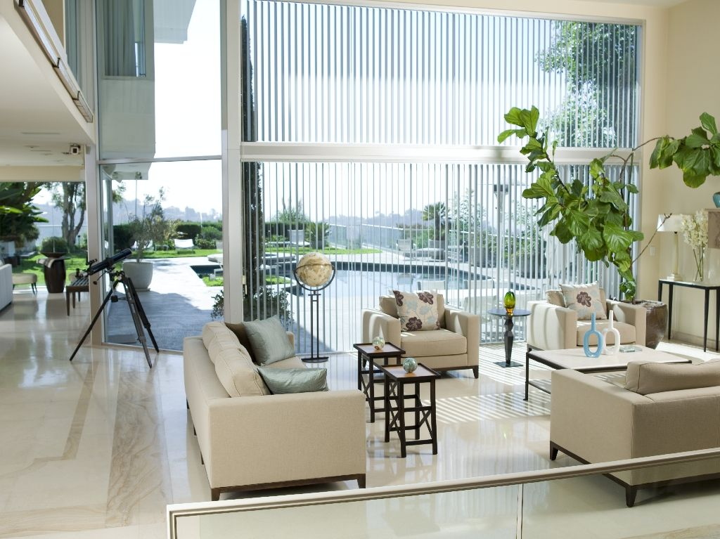 Contemporary Living Room With 3 1 2 Basic Fabric Vertical Blinds Hayneedle Celestron