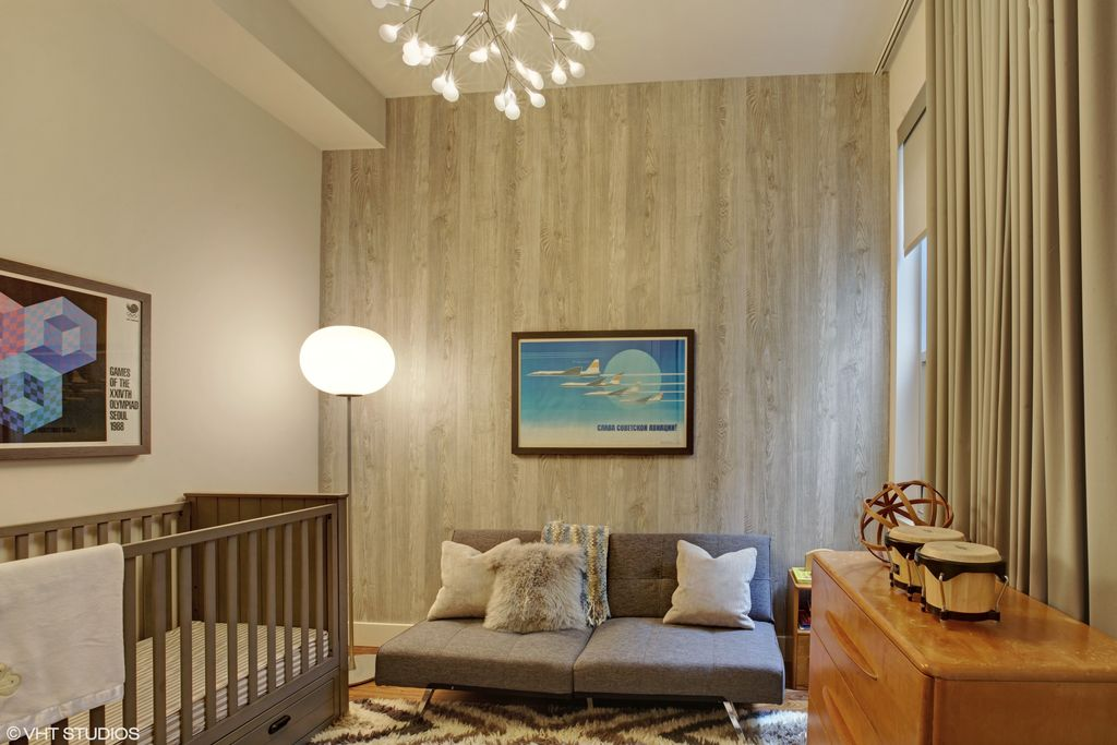Modern Nursery With High Ceiling Hardwood Floors Interior Wallpaper Chandelier Carpet