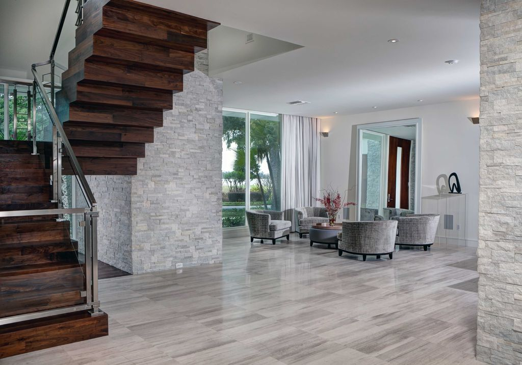 Contemporary Living Room With 3d Polished Grey Brick Stone Tile Glass Panel Door Mid