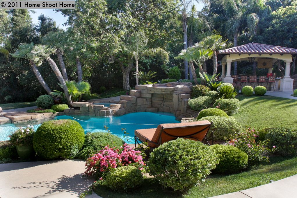 Mediterranean Landscape and Yard with exterior stone floors ...
