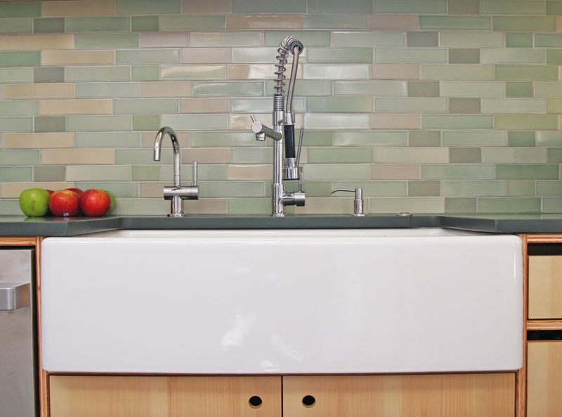 kitchen with inset cabinets ceramic tile high ceiling baldwin fireclay farmhouse sink