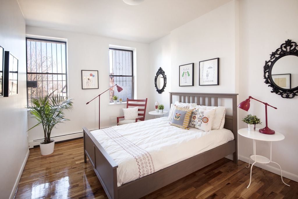 Modern Guest Bedroom With Ikea Ung Drill Hardwood Floors Flush Light Ikea Lindved