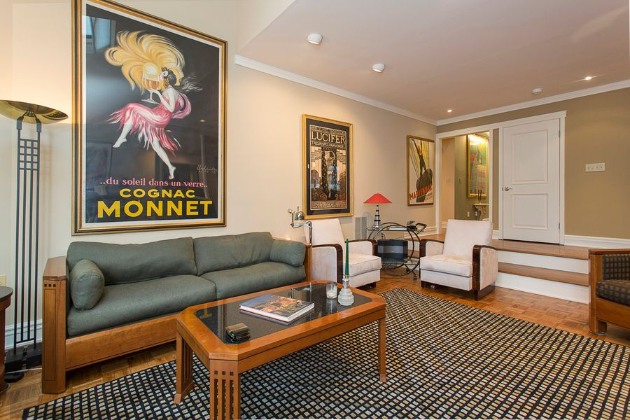 Modern Living Room With Crown Molding, High Ceiling, Sunken Living Room,  Laminate Floors
