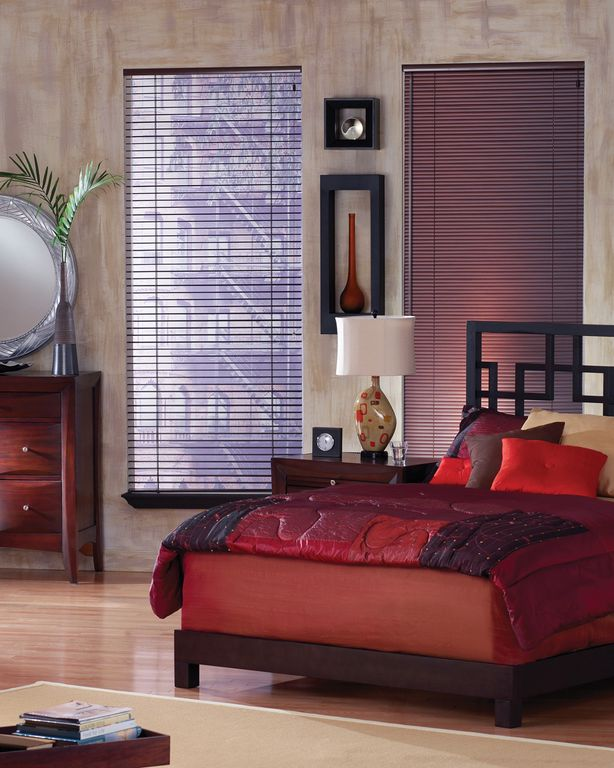 Modern Guest Bedroom with interior wallpaper, Laminate floors