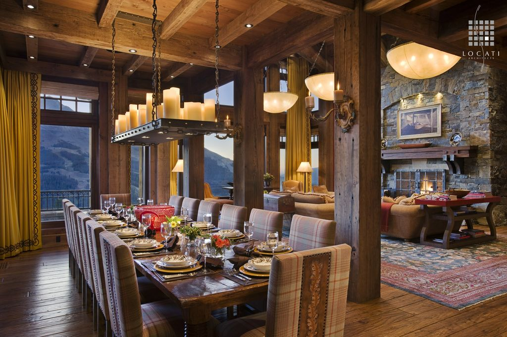 Rustic Dining Room With Hardwood Floors, Floor To Ceiling Curtains,  Columns, Exposed Beam Part 43