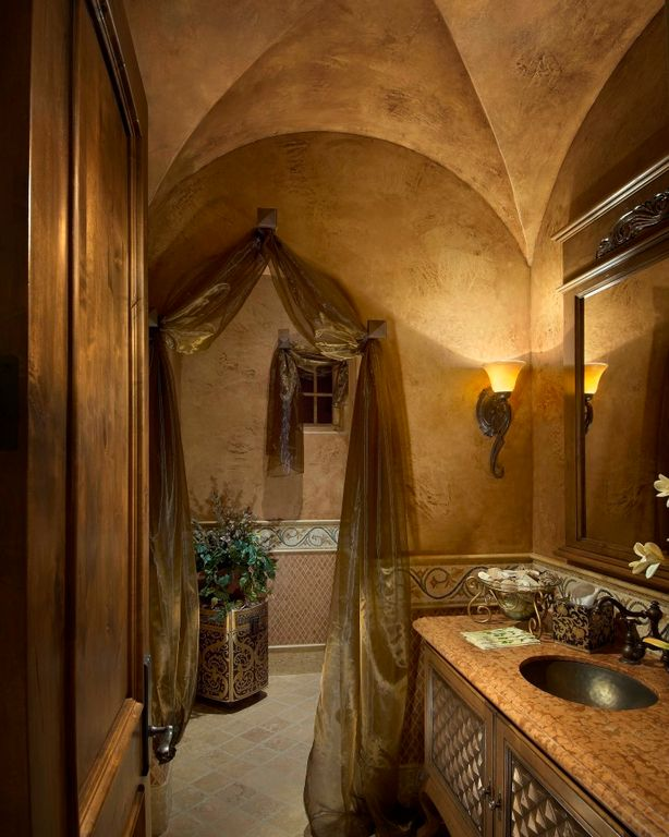 Traditional Full Bathroom With Lapidus Granite Countertop, MSI, High  Ceiling, Limestone Tile Floors
