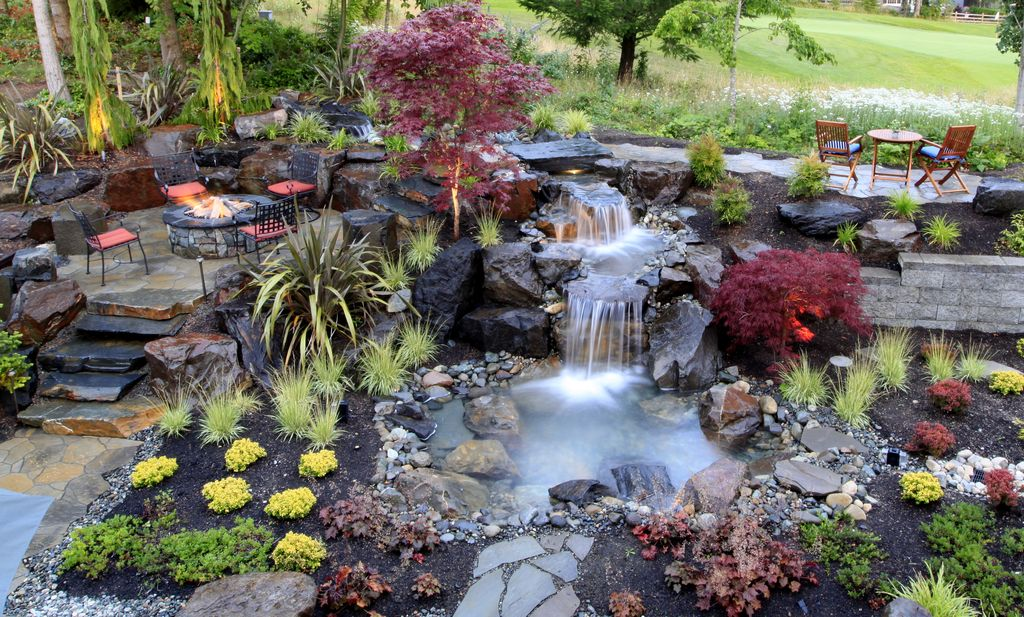 Rustic Landscape Yard with Natural Concrete Products Co Random Stone Fire  Pit  exterior stoneRustic Landscape and Yard with Pathway by Alderwood Landscape  . Exterior Stone Floor Products. Home Design Ideas