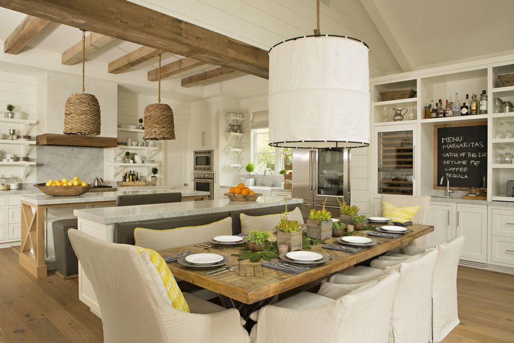 Cottage Dining Room with Builtin bookshelf Hardwood floors