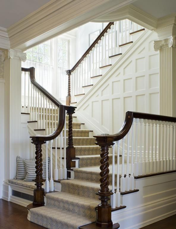 Traditional Staircase With Crown Molding, Wood Paneling, Natural Wood Stair  Treads, Built