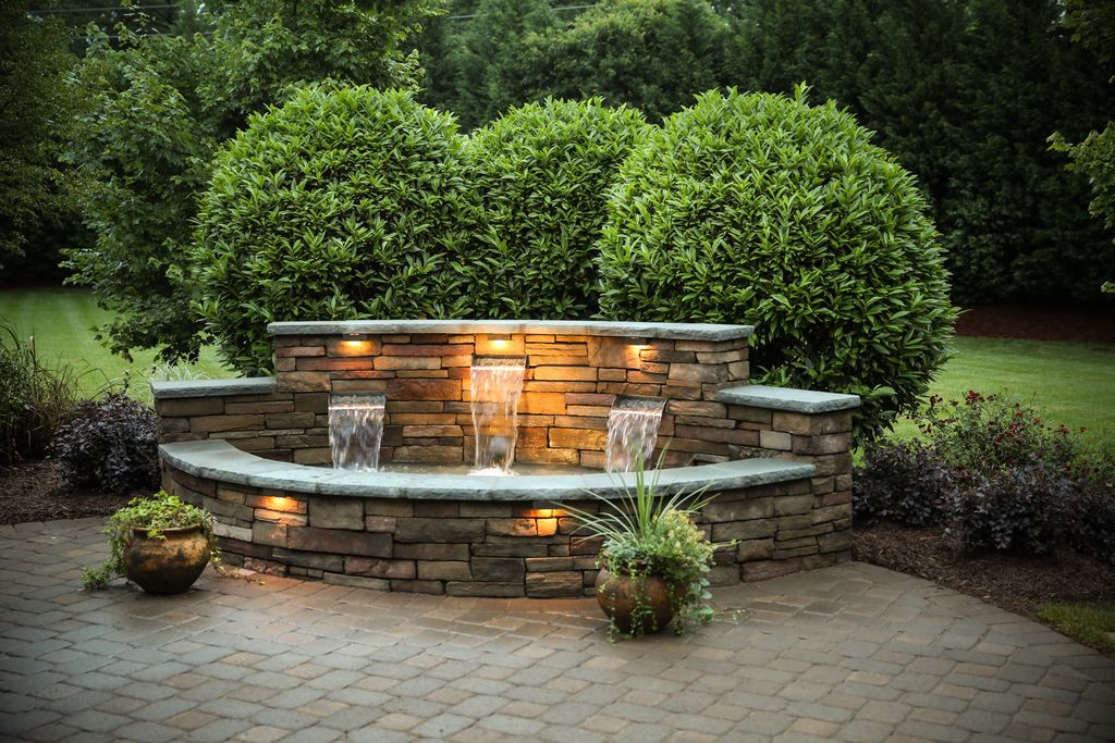 Traditional Landscape And Yard With Exterior Brick Floors Water Feature Zillow Digs Zillow