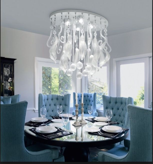 Transitional Dining Room With Madison Park Maxwell Club Chair, High  Ceiling, Chandelier, Leucos