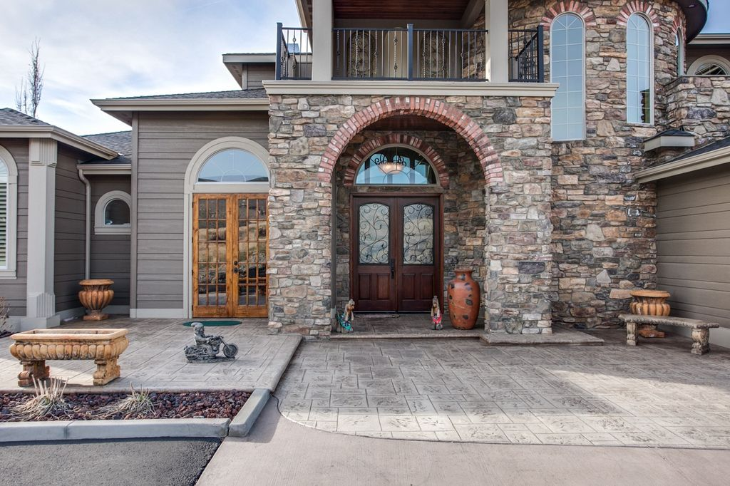 3 tags contemporary front door with glass panel door transom window partial stone exterior raised - Luxury Stone Exterior