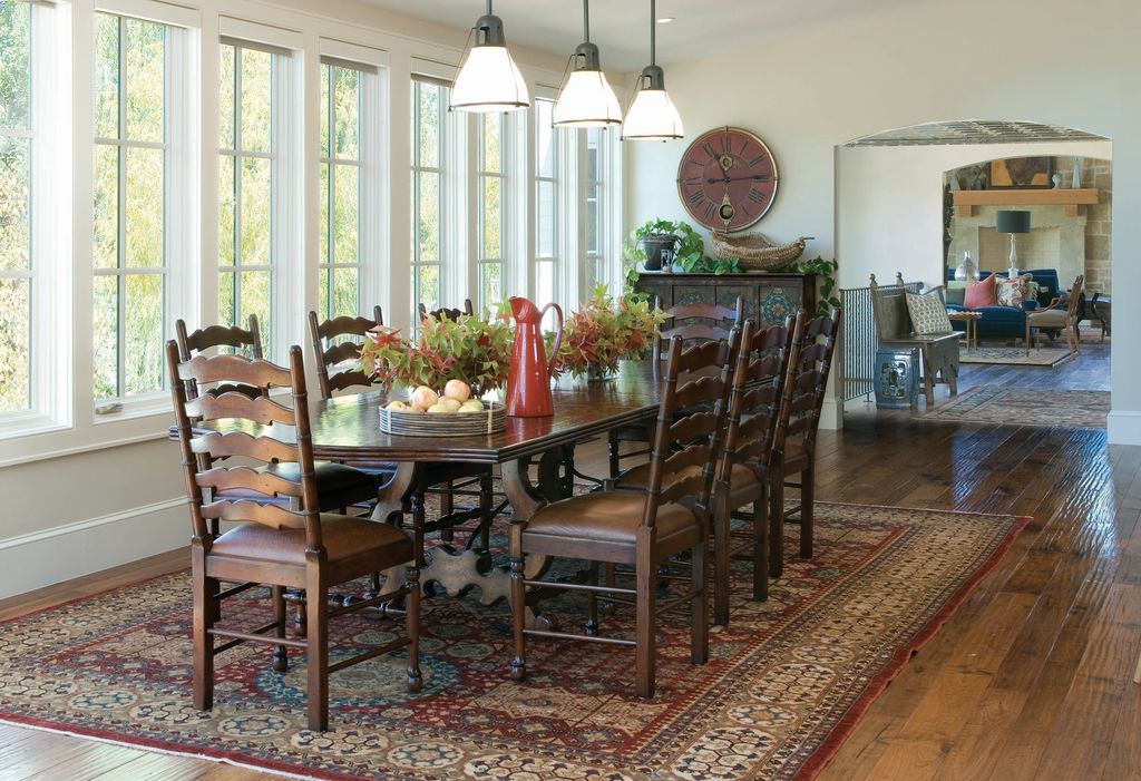 Eclectic Dining Room With Hardwood Floors Rustic Ladder Back Chairs Factory Distressed Finish