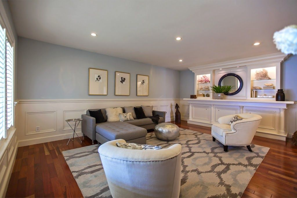 Transitional Living Room With Wainscoting, Chair Rail, Hardwood Floors,  Built In Bookshelf Part 90