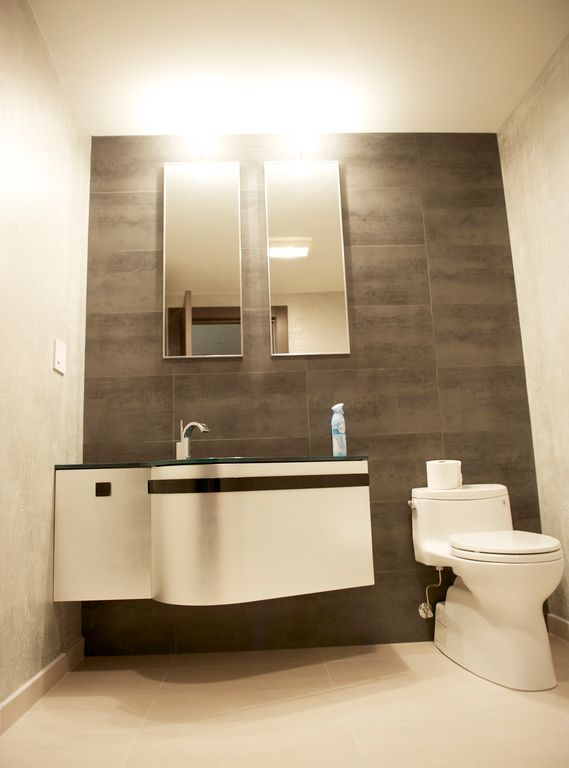Modern Powder Room with flush light by Serge Belferman Zillow