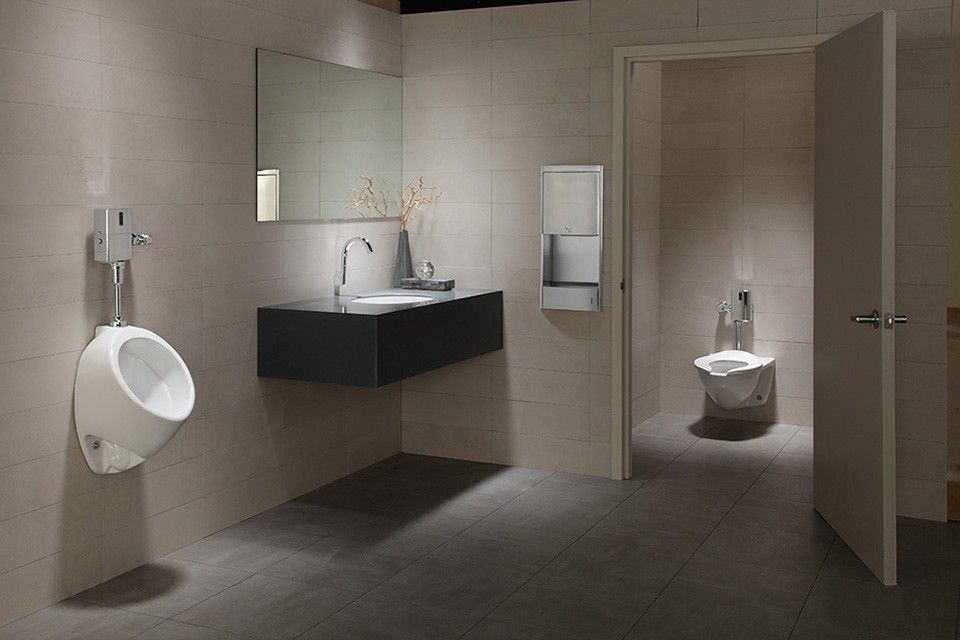 Contemporary Powder Room With Slate Counters, Toto UT105U Commercial 1/8  GPF Wall Mounted