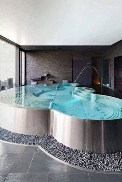 hot tub with custom stainless steel hot tub gray gravel exterior tile floors