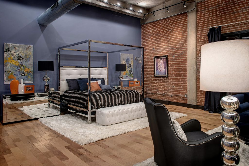 5 Tags Contemporary Master Bedroom With Flagstaff Wall Thin Brick Veneer,  High Ceiling, Omni Mirrored 6. Shirley Strom; Interior Design