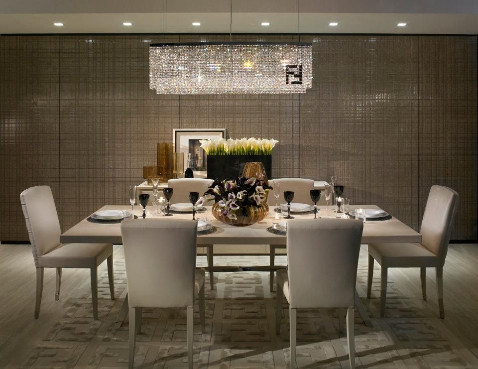 modern dining room with fendi casa crystal chandelier fendi casa double f ivory area rug - Dining Room Crystal Lighting