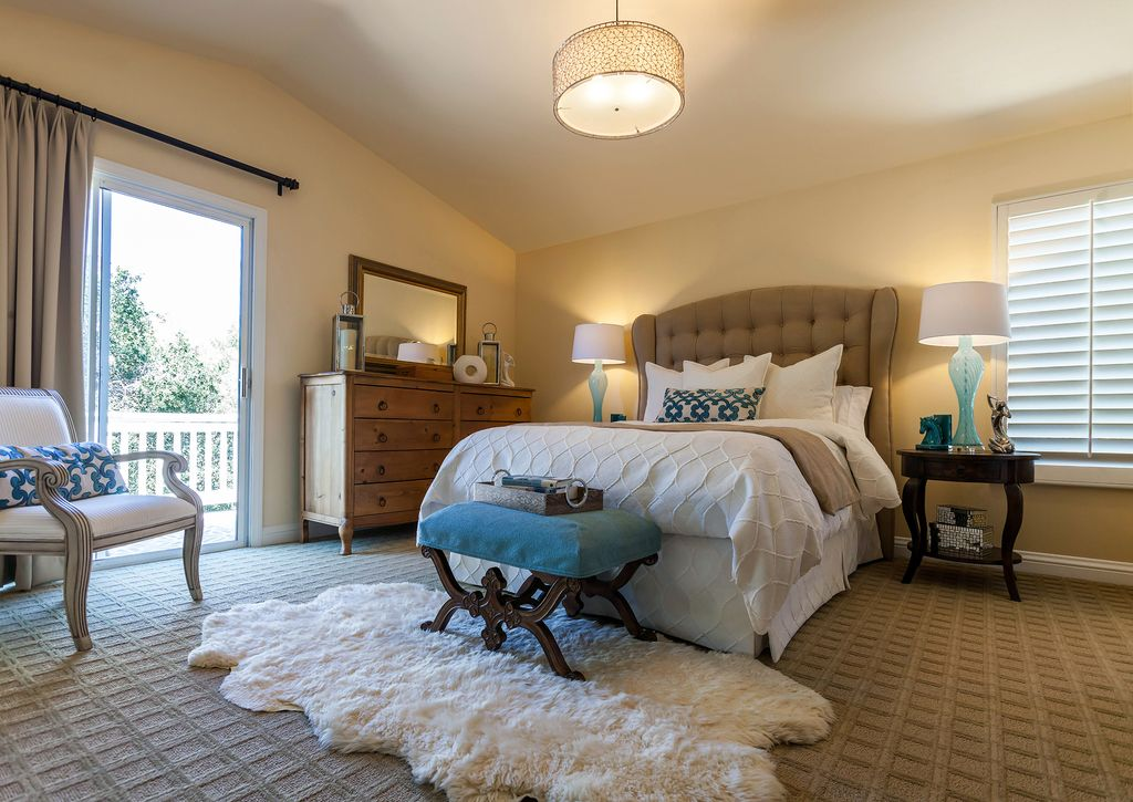 Eclectic Master Bedroom With Carpet Ulysses Pendant Flush Light St James 11