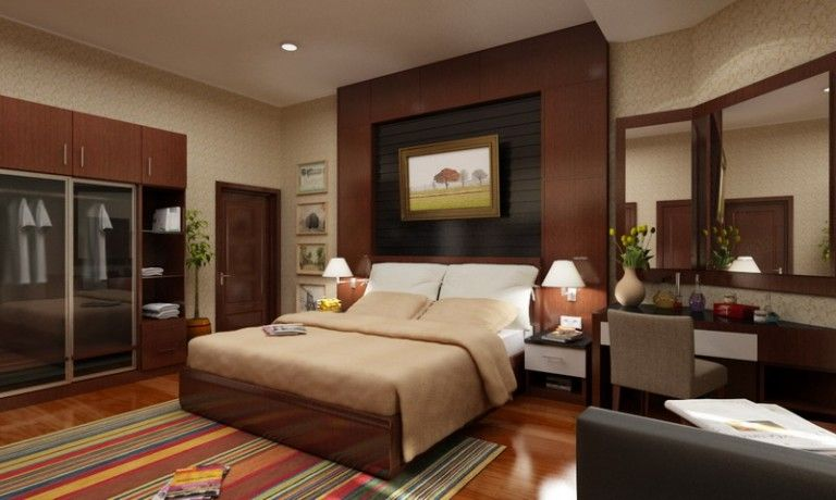 Contemporary Master Bedroom With Striped Area Rug, Specialty Door, Framed  Mirror, Wood Bed