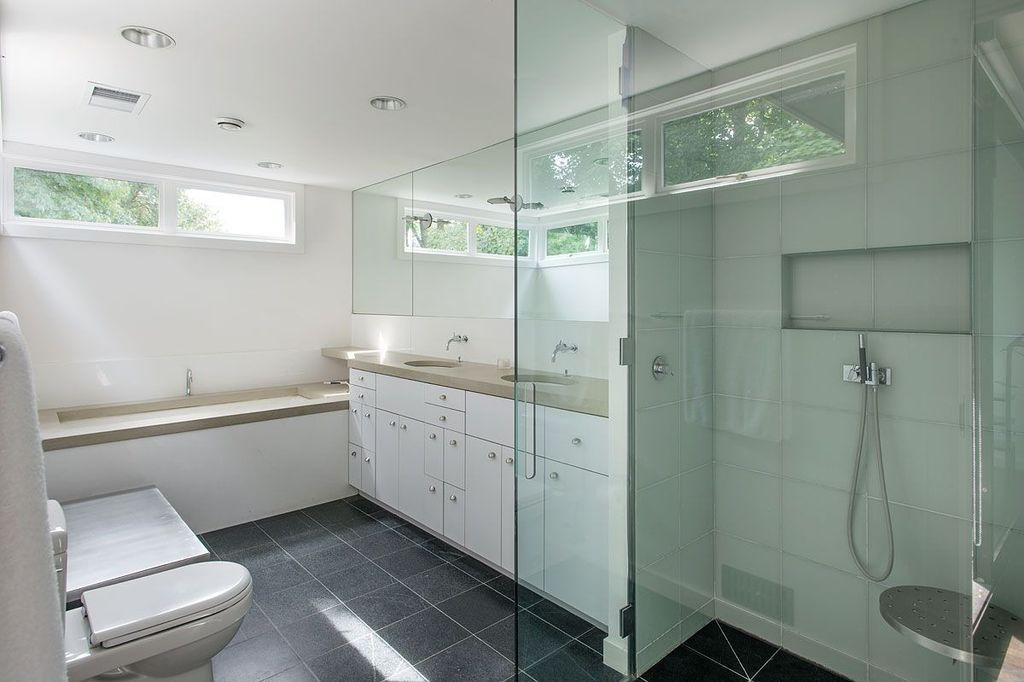 Contemporary Master Bathroom with Handheld Shower Head & frameless ...