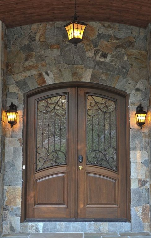 Traditional Front Door With Canarm Madison Outdoor Rustic Bronze Wall  Lantern With Watermark Glass, Stacked