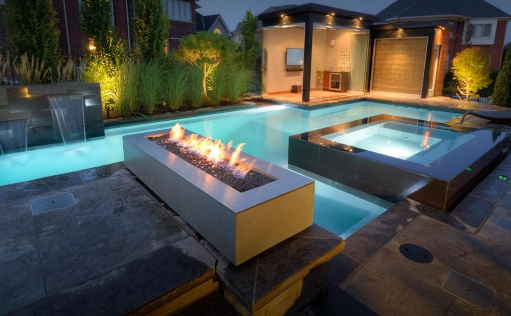 Contemporary Swimming Pool With Fire Pit amp Exterior Stone