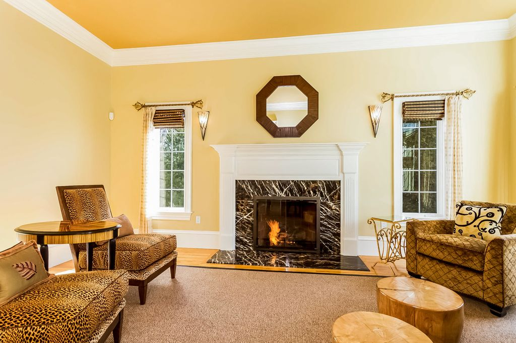 Fireplace Design natick fireplace : Traditional Living Room with Hardwood floors & High ceiling in ...