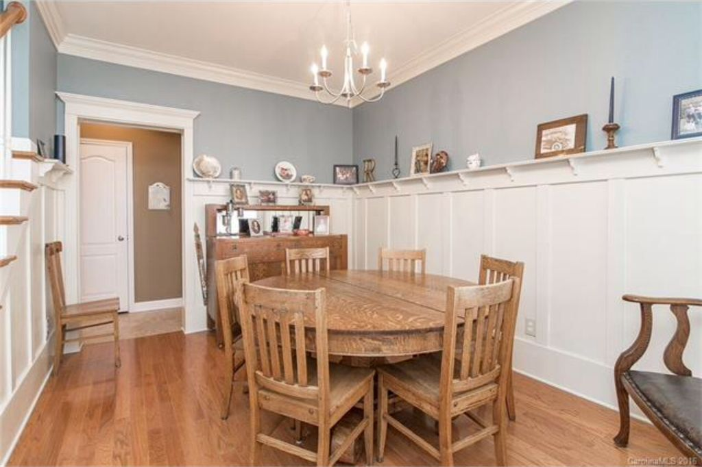 Beautiful Country Dining Room With Wainscoting, High Ceiling, Crown Molding, Pendant  Light, Hardwood Part 23