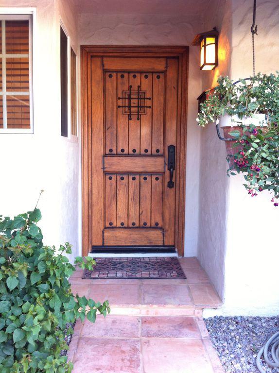 Cottage Front Door With Exterior Stone Floors, Pathway, RMKA Rustic Knotty  Alder FSC Certified