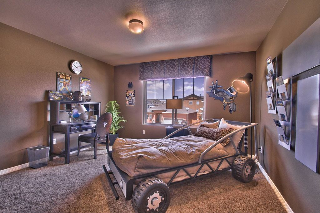 Eclectic Kids Bedroom With Woodbridge Home Designs Track Twin Race Car Bed,  Flush Light,