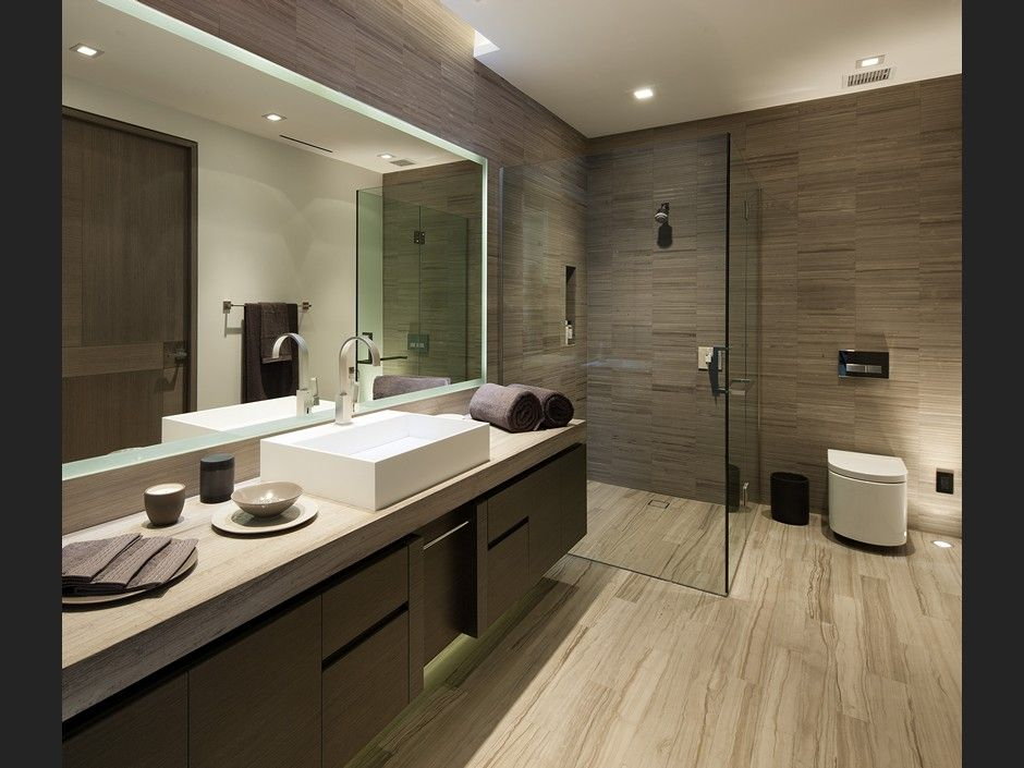 modern 34 bathroom with skylight vessel sink toilet scarabeo 8301 hardwood - Bathroom Ideas Modern