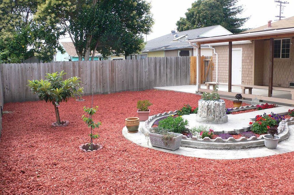 Yard Design Ideas 41 backyard design ideas for small yards 3 Tags Traditional Landscapeyard With 16 In X 2 In Red Straight Scallop Concrete