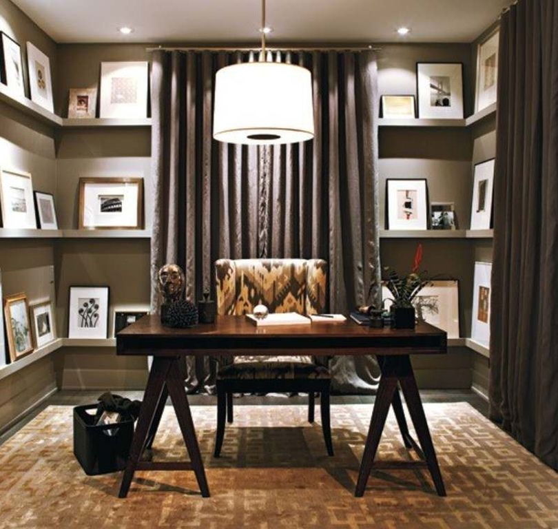 contemporary home office with hardwood floors & pendant light