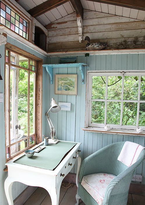 cottage office. Cottage Home Office With Hooker Furniture Melange Sofia Writing Desk, Hardwood Floors, Stained Glass C
