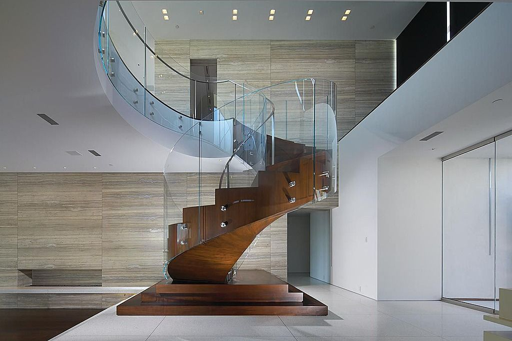Modern Staircase With Spiral Staircase, High Ceiling, French Doors,  Concrete Tile