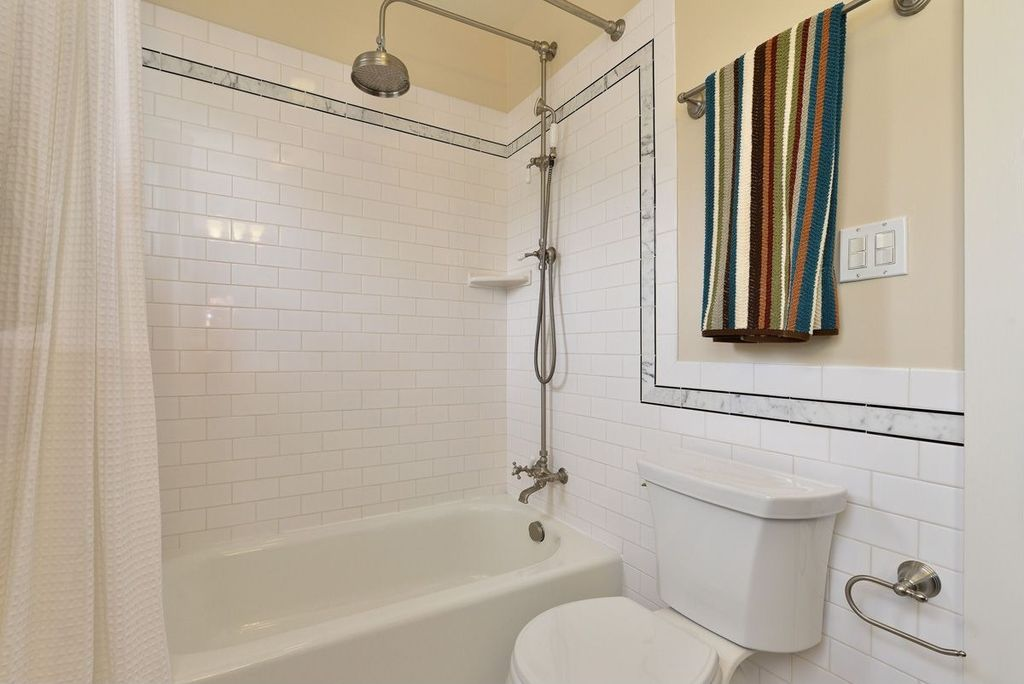 Traditional Full Bathroom With Rain Shower Head, Handheld Shower Head,  Tiled Wall Showerbath,