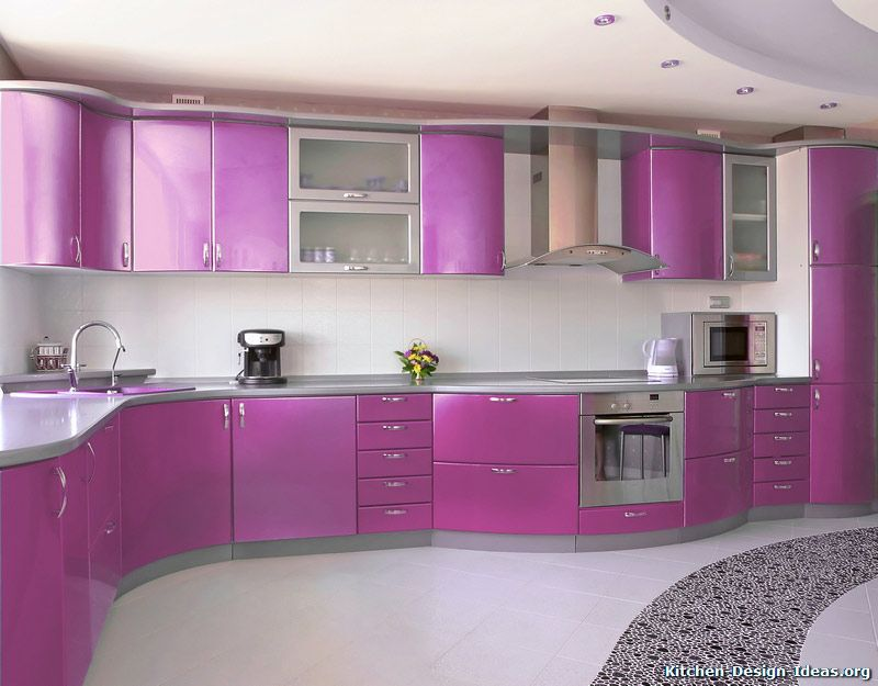 5 tags Eclectic Kitchen with Vetro Mosaic Glass Pebbles Purple, European  Cabinets, Drop-In Sink