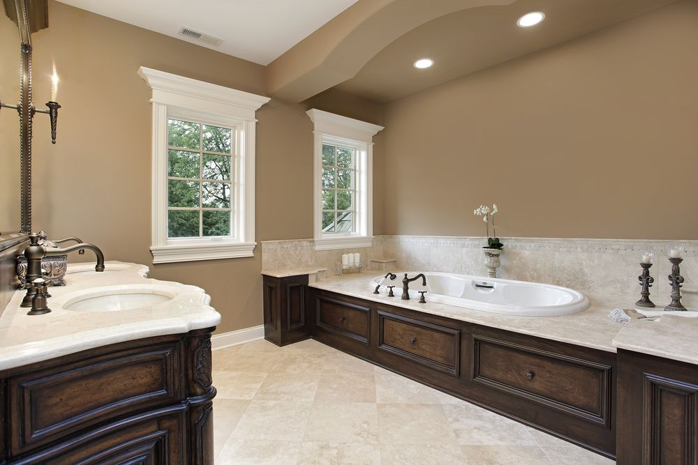 Traditional Master Bathroom With Undermount Sink Double Sink Limestone Counters Wall Sconce