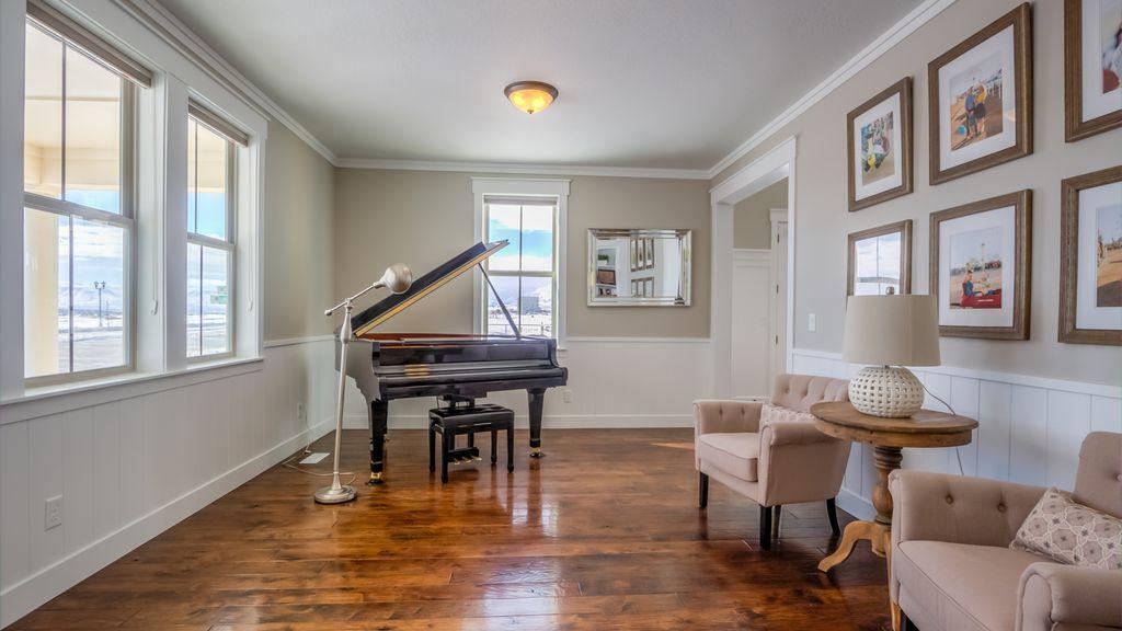 Charming Traditional Living Room With Wainscoting, Flush Light, Crown Molding,  Hardwood Floors, High