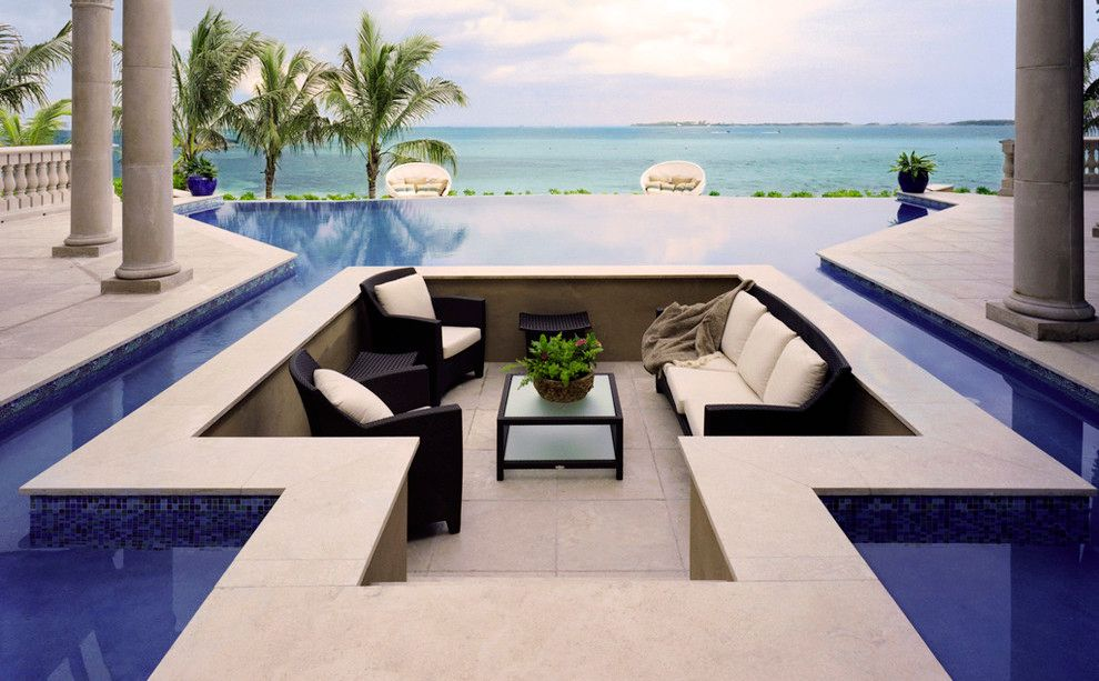Contemporary Porch With Infinity Edge Pool Exterior