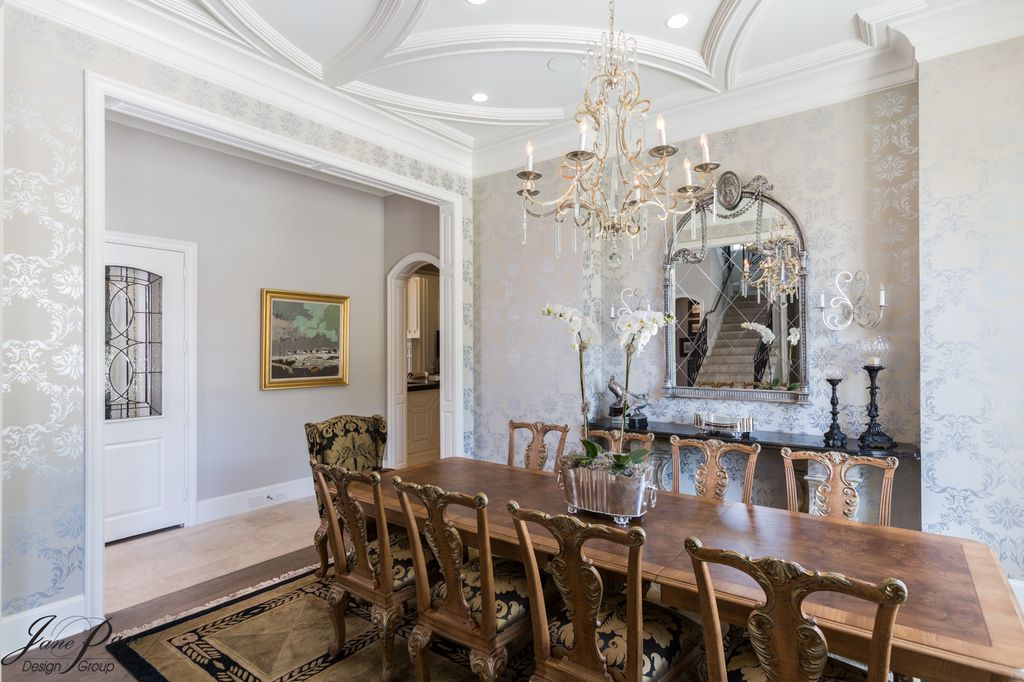 Traditional Dining Room With Slate Tile Floors Box Ceiling Interior Wallpaper High