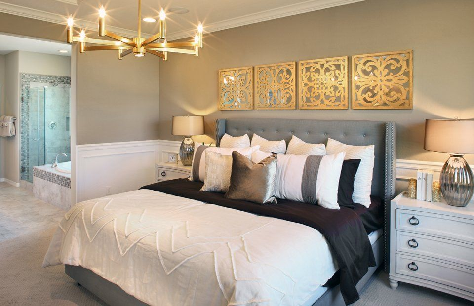 Transitional Master Bedroom With Verona Home Kensington Wingback Queen  Headboard, Chandelier, Carpet, Crown