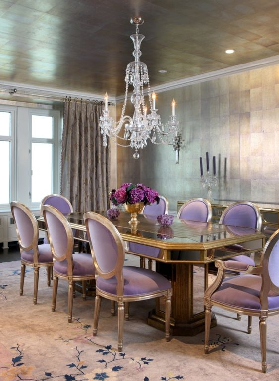 Contemporary dining room with chandelier crown molding for Plum dining room chairs
