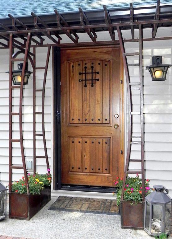 Mediterranean Front Door with Raised beds Arbor exterior tile floors & Mediterranean Front Door with exterior tile floors \u0026 Arbor ...